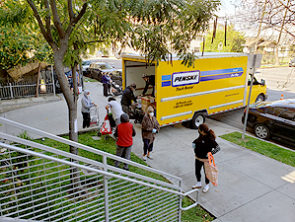 Giving food directly from the Penske truck at Bronson